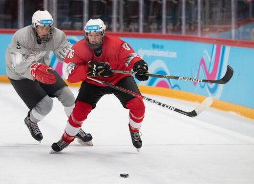 Hockey sobre hielo Patrik Melicher SVK (grey) and Tjas Lesnicar SLO